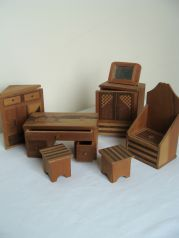 This Is A Wooden Dolls House Furniture Set That Is Inlaid With Various  Woods. Made In The 1930u0027s This Set Is Japanese In An Art Deco Design.